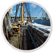 Round Beach Towel featuring the photograph Aboard The Eagle by Karol Livote