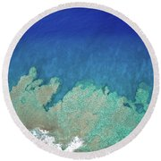 Abstract Aerial Reef Round Beach Towel