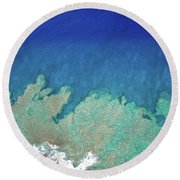 Abstract Aerial Reef Round Beach Towel by Denise Bird