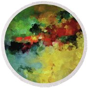 Round Beach Towel featuring the painting Abstract And Minimalist  Landscape Painting by Ayse Deniz