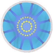 Abstract Blue, Orange And Yellow Star Round Beach Towel