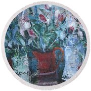 Round Beach Towel featuring the painting Abstract Flowers by Betty Pieper