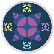 Abstract Mandala Pink, Dark Blue And Cyan Pattern For Home Decoration Round Beach Towel