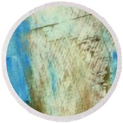 Round Beach Towel featuring the painting Abstract Red White Blue by Patricia Cleasby