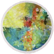Round Beach Towel featuring the painting Abstract Seascape Painting by Ayse Deniz