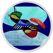 Abstract Silver Round Beach Towel