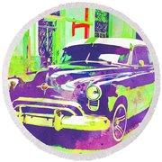 Abstract Watercolor - Havana Cuba Classic Car I Round Beach Towel