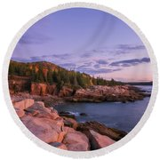 Round Beach Towel featuring the photograph Acadia Sunrise by Sharon Seaward