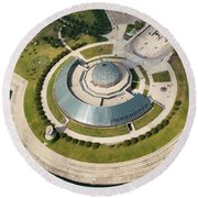 Round Beach Towel featuring the photograph Adler Planetarium Aerial by Adam Romanowicz