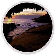 Admiral's  Arch Sunset Round Beach Towel by Mike Dawson