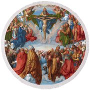 Adoration Of The Trinity  Round Beach Towel
