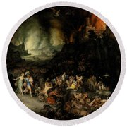 Aeneas And Sibyl In The Underworld Round Beach Towel