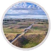 aerial view of Nebraska Sandhills  Round Beach Towel