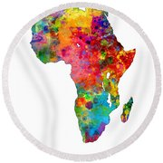 Africa Watercolor Map Round Beach Towel