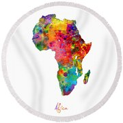 Africa Watercolor Map Round Beach Towel by Michael Tompsett