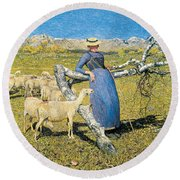 Afternoon In The Alps Round Beach Towel