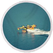 Aircraft Firefighter Take Water In The Sea Round Beach Towel