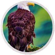 Alaska Bald Eagle Round Beach Towel