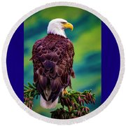 Alaska Bald Eagle Round Beach Towel