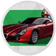Alfa Romeo Zagato  T Z 3  Stradale With 3 D Badge  Round Beach Towel