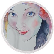 Round Beach Towel featuring the painting Alisha by Mary Haley-Rocks