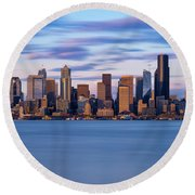 Almost Sunset In Seattle  Round Beach Towel
