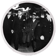 Round Beach Towel featuring the photograph Alphonse Capone (1899-1947) by Granger