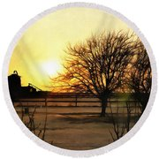 Amarillo Sunset Round Beach Towel by Ricky Dean