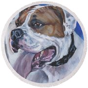 Round Beach Towel featuring the painting American Bulldog by Lee Ann Shepard