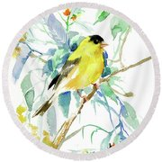 American Goldfinch Round Beach Towel by Suren Nersisyan