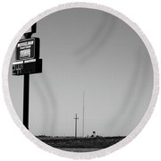 Round Beach Towel featuring the photograph American Interstate - Kansas I-70 Bw 4 by Frank Romeo