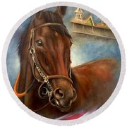 American Pharoah Round Beach Towel
