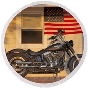 American Pride. Harley Davidson Round Beach Towel by George Robinson