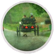 Amish Ladies Of Lancaster County Round Beach Towel