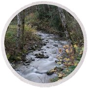 Round Beach Towel featuring the photograph An Autumn Stream by Jeff Swan