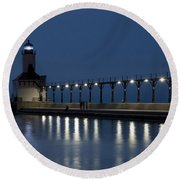 An Evening At The Lighthouse Round Beach Towel