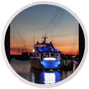 Round Beach Towel featuring the photograph An Evening In Newport Rhode Island by Suzanne Gaff