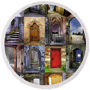 Ancient Doorways Round Beach Towel