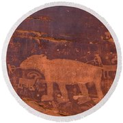 Round Beach Towel featuring the photograph Ancient Native American Petroglyphs On A Canyon Wall Near Moab. by Jim Thompson