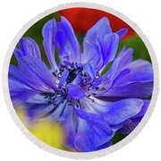 Anemone Blue Round Beach Towel