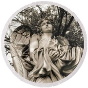Angel In The Fall Round Beach Towel