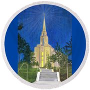 Round Beach Towel featuring the painting Angel Portal by Jane Autry