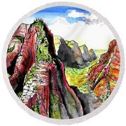Angels Landing-zion Round Beach Towel