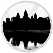 Angkor Wat Black  Round Beach Towel