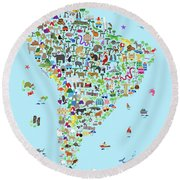 Animal Map Of South America For Children And Kids Round Beach Towel