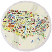 Animal Map Of United States For Children And Kids Round Beach Towel