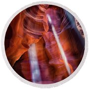 Antelope Canyon's Many Beams Round Beach Towel