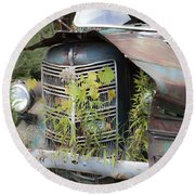Round Beach Towel featuring the photograph Antique Mack Truck by Charles Harden