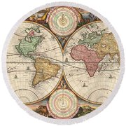 Antique Maps - Old Cartographic Maps - Antique Map Of The World, Double Hemisphere, Globe Round Beach Towel