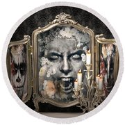 Antique Vampire Paintings Round Beach Towel